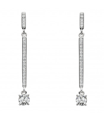 Sterling Silver Swarovski Drop Bar Earrings - Shanore ST11