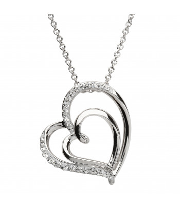 Sterling Silver Swarovski Heart Necklace - Shanore ST21