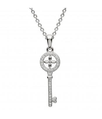 Sterling Silver Swarovski Key Necklace - Shanore ST25