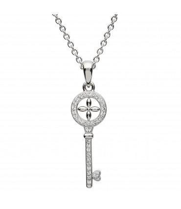 Sterling Silver Swarovski Key Necklace - Shanore ST25