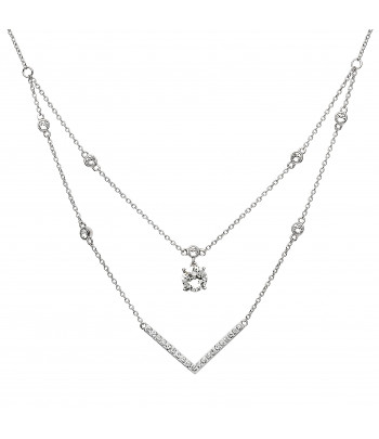 Sterling Silver Swarovski Double Necklace - Shanore ST28