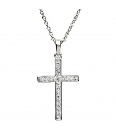 Sterling Silver Swarovski Cross Necklace - Shanore ST31