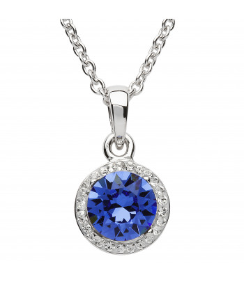 Sterling Silver Swarovski Halo Sapphire Necklace - Shanore ST35