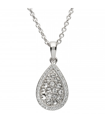 Sterling Silver Swarovski Tear Drop Necklace - Shanore ST36