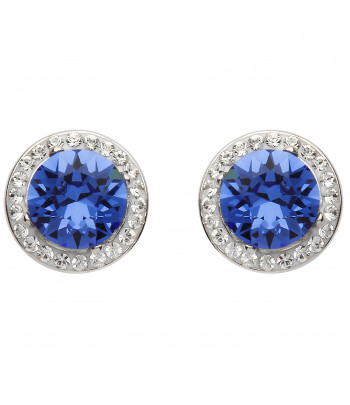 Sterling Silver Swarovski Halo Sapphire Earrings - Shanore ST39