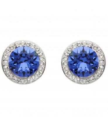 Sterling Silver Swarovski Halo Sapphire Earrings - Shanore ST39