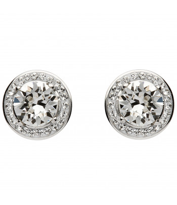 Sterling Silver Swarovski Halo Earrings - Shanore ST45