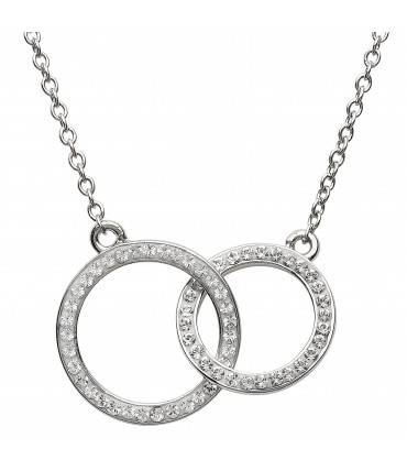 Sterling Silver Swarovski Double Circle Necklace - Shanore ST9